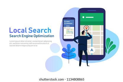 local search marketing ecommerce. concept of mobile location SEO search engine optimization. large phone with business man holding magnifying glass. vector illustration flat