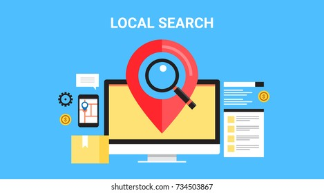 Local search, SEO, Map optimization, flat vector banner with icons