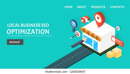 Local SEO - Local business - Map listing - flat design 3D isometric banner with icons