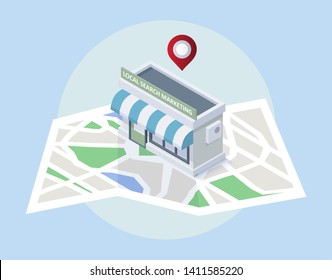 Local seo concept. Map with location markers. Graphic concept for your design