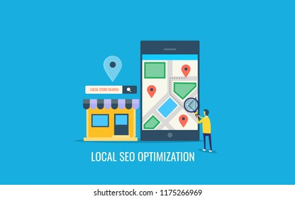 Local seo optimization, Local Business SEO, Maps optimization, Search Store location flat design vector illustration