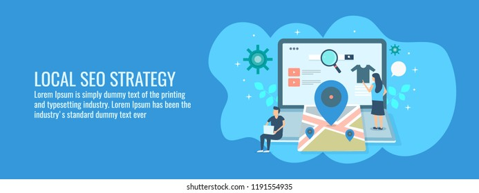 Local SEO strategy - Local business - Digital marketing campaign - flat vector illustration with icons and characters