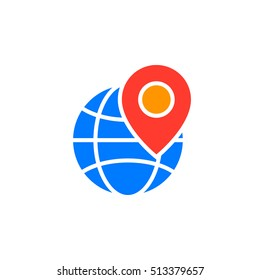 Local seo symbol. Globe and location marker icon vector, filled flat sign, solid colorful pictogram isolated on white, logo illustration