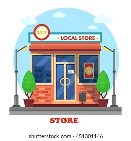 Local shop or store building outdoor exterior with trees near lantern or bushes near lamp. Day and night working boutique panorama view. Business and trading theme