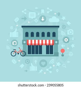 Local store building with abstract symbols of geo targeting, social media sharing and marketing. Concept of building effective social media presence and marketing strategy for local businesses