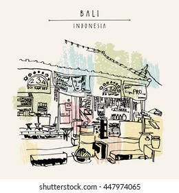 A local store in Kedonganan, Jimbaran beach, Bali, Indonesia, Asia. Beach view. Hand drawing. Travel sketch. Book illustration, postcard or poster template in vector