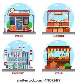 Local store or shop, market and stall with goods or counter for groceries, factory or plant with chimney and pipes. Outdoor exteriors of business buildings and trading constructions.