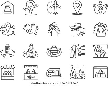 Local travel line icon set. Included the icons as tour, tourism, traveler, domestic, flights, holiday, vacation and more.