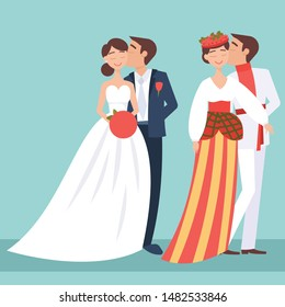Local weddings set with European, Ukraine bride, groom wearing traditional dress, engaging in local customs. Vector set of Wedding couples in traditional clothes. Different weddings vector image