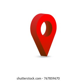 locality Isolated red map pointer set. 3D Illustration