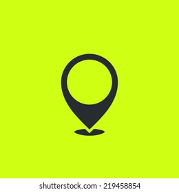 """Locate icon: common geo tag positioning pictogram. Flat """"here"""" sign. For maps, schemes, applications, infographics and contacts."""