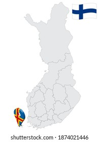 Location Aland Islands  Region on map Finland. 3d location sign similar to the flag of  Aland Islands. Quality map  with regions of Finland for your design. EPS10.