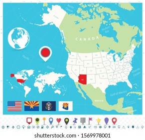 Location of Arizona on USA map with flags and map icons. Detailed vector illustration.