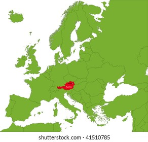 Location of Austria on the Europa continent