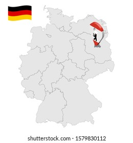 Location of Berlin on map Federal Republic of Germany. 3d Berlin location sign similar to the flag of Berlin. Quality map of Germany with regions. EPS10.