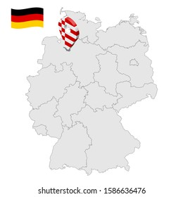 Location of Bremen on map Federal Republic of Germany. 3d Hamburg location sign similar to the flag of Free and Hanseatic city of Bremen. Map of Germany with regions. EPS10.