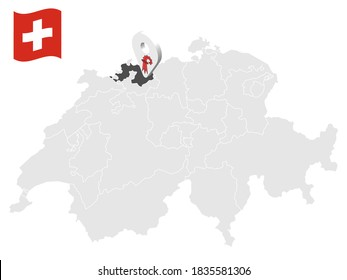 Location Canton of  Basel-Landschaft on map Switzerland. 3d location sign similar to the flag of  Basel-Landschaft. Quality map  with  provinces of  Switzerland for your design. EPS10.