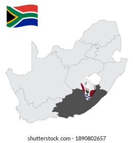 Location  Eastern Cape on map South Africa. 3d location sign similar to the flag of  province Eastern Cape. Quality map  with regions of South Africa for your design. EPS10.