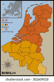 Location, Flags and Map of Benelux