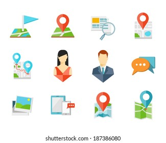 Location flat icons with pin on map, man and woman signs