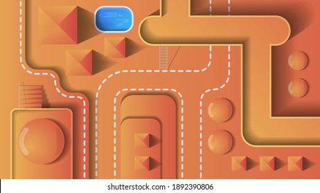 location for games. abstract crossings, pool of liquid, stairs, steps with railings, bridges, road markings, industrial facilities. layout for your projects. vector
