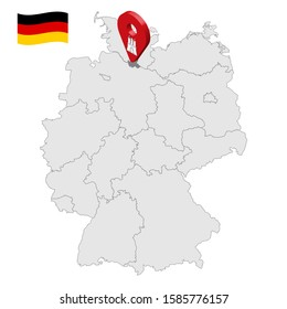 Location of Hamburg on map Federal Republic of Germany. 3d Hamburg location sign similar to the flag of Free and Hanseatic city of Hamburg. Map of Germany with regions. EPS10.