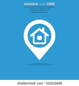 location of the house or the pointer web icon. vector design