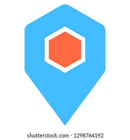 Location icon hexagon map pin sign is isolated on white background. Web button for internet cartography is created in flat style. The design graphic element is saved as a vector illustration