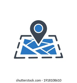 Location icon. Map, home, office location icon. Travel tracking, road map, shop location icon in vector illustration, two color, circle background, black shape.
