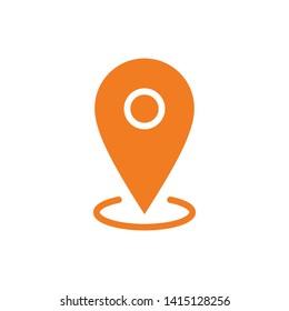 Location icon, map pin pointer. Gps navigation locate symbol.