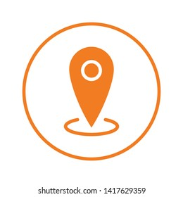 Location icon, map pin pointer. Gps navigation locate symbol.