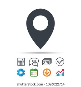 Location icon. Map pointer symbol. Statistics chart, chat speech bubble and contacts signs. Check web icon. Vector