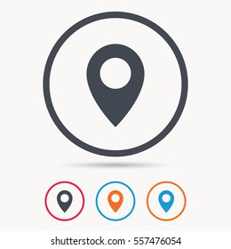 Location icon. Map pointer symbol. Colored circle buttons with flat web icon. Vector