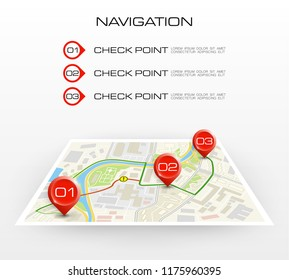 Location icon map. Road infographic color pin pointer. City map navigation route, vector simple city GPS navigation, itinerary destination arrow paper city map. Route delivery check point infographic