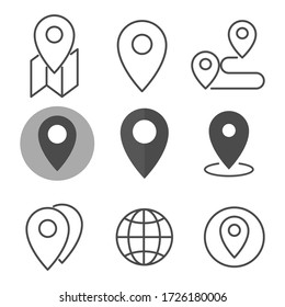 Location icon set. Flat style. Isolated on white background.