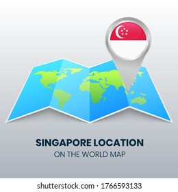 Location icon of Singapore on the world map, Round pin icon of Singapore