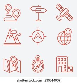 Location icons, thin line style, flat design