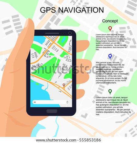 location illustration on smartphone screen pin stock vector royalty