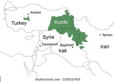 Location of the Kurds on the map of the Middle East