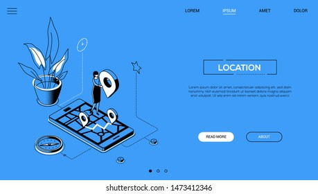 Location - line design style isometric web banner on blue background with copy space for text. A header with a female worker on a smartphone with a map on the screen, holding geo tag, compass