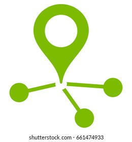 Location Links vector icon. Flat eco green symbol. Pictogram is isolated on a white background. Designed for web and software interfaces.