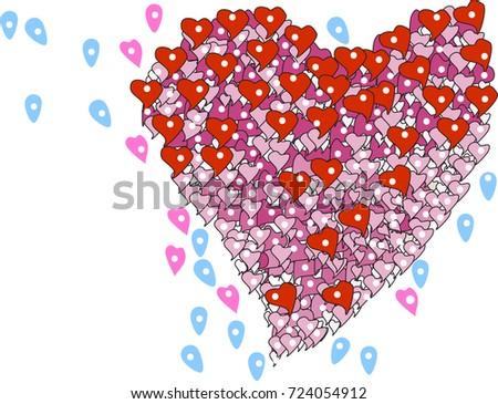Location Love Image Heart Shape Location Symbol Concept Stock Vector ...