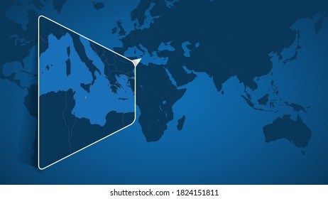 Location of Malta on the World Map with Enlarged Map of Malta with Flag. Geographical Vector Template for your design.