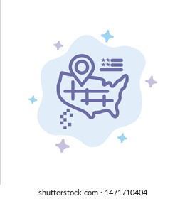 Location, Map, American Blue Icon on Abstract Cloud Background