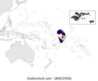 Location Map of American Samoa on map Oceania and Australia. 3d  American Samoa flag map marker location pin. High quality map  of American Samoa. Oceania. EPS10.