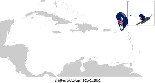 Location Map Anguilla on map Central America. 3d Anguilla flag map marker location pin. High quality map of Anguilla. Antilles. Central America. UK. Vector illustration EPS10.