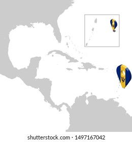 Location Map Barbados on map  Central America. 3d Barbados flag map marker location pin. High quality map Barbados. Vector illustration EPS10.