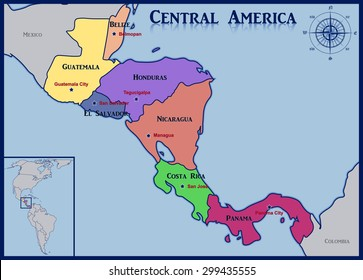 Location and Map of the Countries of Central America