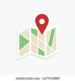 Location map icon .Flat colored location flat design vector icon