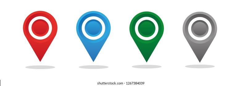 Location map icon, gps pointer mark. Vector illustration.